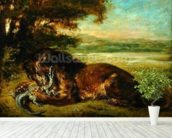 Lion and Alligator, 1863 (oil on panel) wall mural in-room view