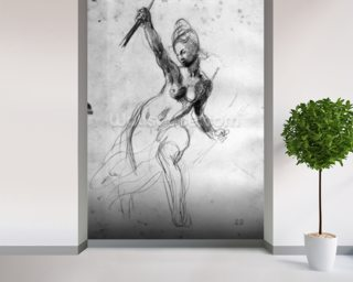 Female Nude, study for Liberty Leading the People (pencil on paper) (b/w photo) wallpaper mural