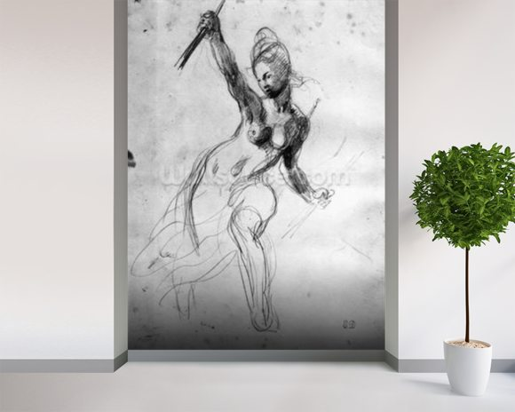 Female Nude, study for Liberty Leading the People (pencil on paper) (b/w photo) wallpaper mural room setting