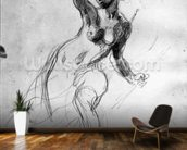 Female Nude, study for Liberty Leading the People (pencil on paper) (b/w photo) wallpaper mural kitchen preview