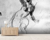 Female Nude, study for Liberty Leading the People (pencil on paper) (b/w photo) wallpaper mural living room preview