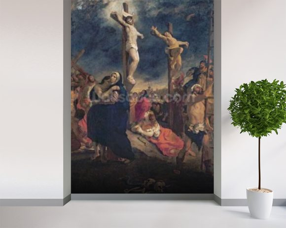 Christ on the Cross, 1835 (oil on canvas) mural wallpaper room setting