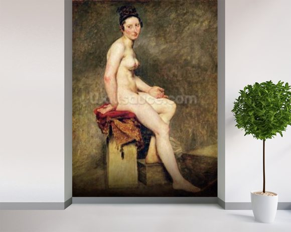 Seated Nude, Mademoiselle Rose (oil on canvas) wallpaper mural room setting