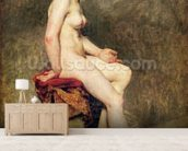 Seated Nude, Mademoiselle Rose (oil on canvas) wallpaper mural living room preview