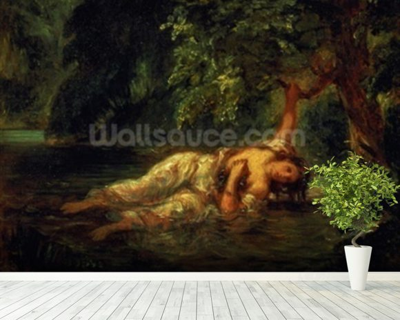 The Death of Ophelia, 1844 (oil on canvas) wall mural room setting