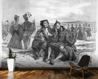 Faust and Wagner in conversation, Illustration for Faust by Goethe (b/w photo of lithograph) (see also 59929) mural wallpaper