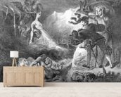 Faust and Mephistopheles at the Witches Sabbath, from Goethes Faust, 1828, (illustration), (b/w photo of lithograph) wallpaper mural living room preview