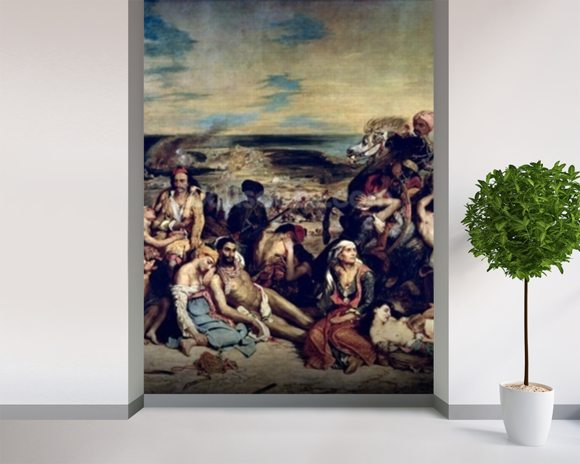Scenes from the Massacre of Chios, 1822 (oil on canvas) wall mural room setting