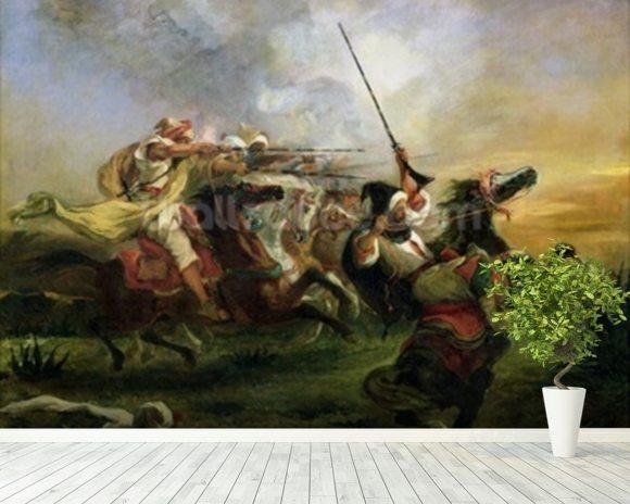 Delacroix ferdinand victor eugene moroccan horsemen in for Army wallpaper mural