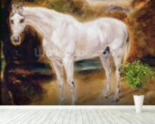 White Horse (oil on canvas) mural wallpaper in-room view