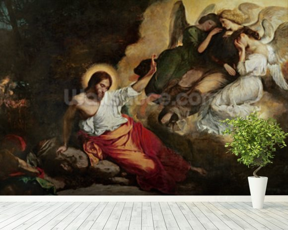 Christ in the Garden of Olives, 1827 (oil on canvas) wallpaper mural room setting