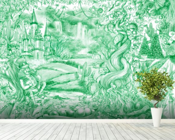 Green Illustration mural wallpaper room setting