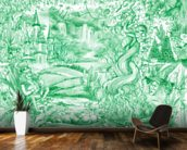 Green Illustration mural wallpaper kitchen preview