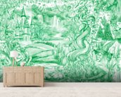 Green Illustration mural wallpaper living room preview
