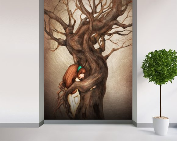 I Love You Old Tree wall mural room setting
