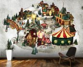 Snow Village wall mural kitchen preview