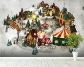 Snow Village wall mural in-room view