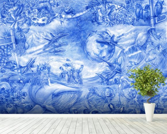 Blue Illustration wallpaper mural room setting
