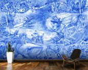 Blue Illustration wallpaper mural kitchen preview