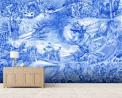 Blue Illustration wallpaper mural living room preview
