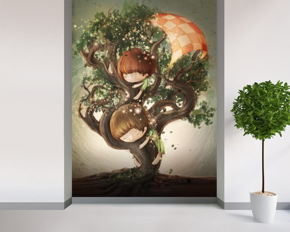 Born by a Tree mural wallpaper room setting