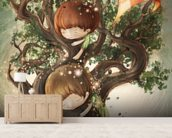 Born by a Tree mural wallpaper living room preview