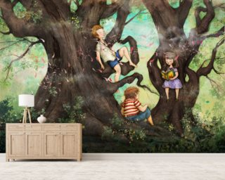 Children Three that Nestle Near Mural Wallpaper Wallpaper Wall Murals