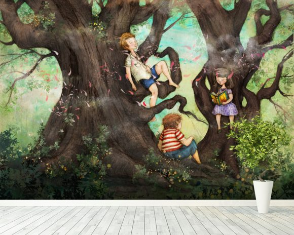 Children Three that Nestle Near wallpaper mural room setting