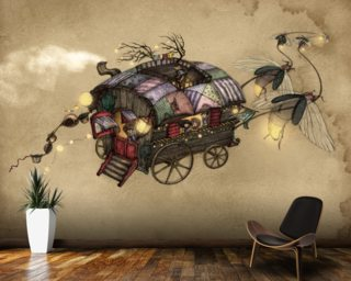 Gypsy Wagon Wallpaper Mural Wallpaper Wall Murals
