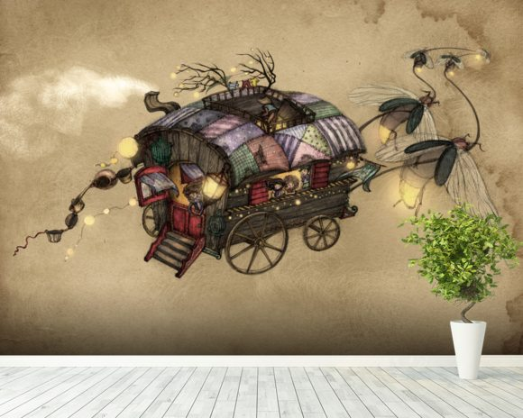 Gypsy Wagon wallpaper mural room setting