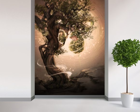 Tree Babies wallpaper mural room setting