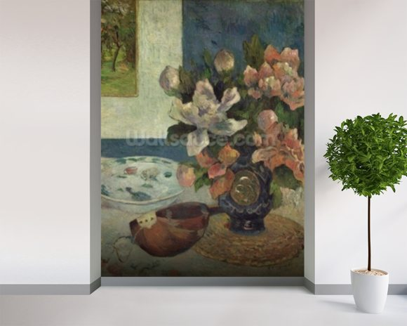 Still Life with a Mandolin, 1885 (oil on canvas) wallpaper mural room setting