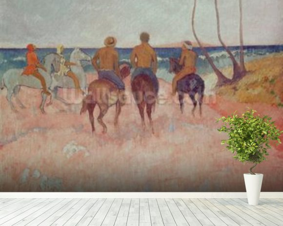 Horseman on the Beach (Hiva Hoa) 1902 (oil on canvas) mural wallpaper room setting