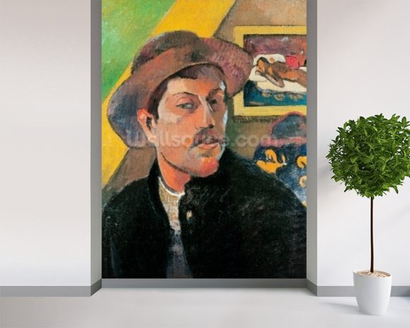 Self Portrait in a Hat, 1893-94 (oil on canvas) wallpaper mural room setting