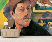 Self Portrait in a Hat, 1893-94 (oil on canvas) wallpaper mural living room preview