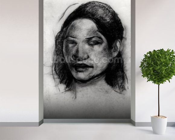 Head of a Tahitian (charcoal on paper) (b/w photo) mural wallpaper room setting