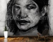 Head of a Tahitian (charcoal on paper) (b/w photo) mural wallpaper kitchen preview