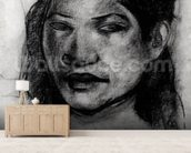 Head of a Tahitian (charcoal on paper) (b/w photo) mural wallpaper living room preview