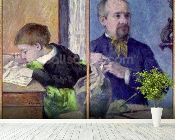 Portrait of Jean Paul Aube (1837-1916) and his son (pastel) mural wallpaper room setting