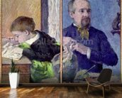 Portrait of Jean Paul Aube (1837-1916) and his son (pastel) mural wallpaper kitchen preview