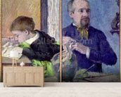 Portrait of Jean Paul Aube (1837-1916) and his son (pastel) mural wallpaper living room preview