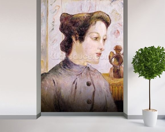 Portrait of a Young Woman, 1886 (oil on canvas) mural wallpaper room setting