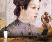 Portrait of a Young Woman, 1886 (oil on canvas) mural wallpaper kitchen preview