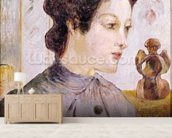 Portrait of a Young Woman, 1886 (oil on canvas) mural wallpaper living room preview