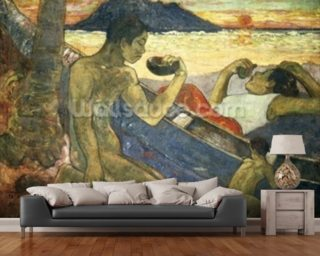 A Canoe (Tahitian Family), 1896 (oil on canvas) Wallpaper Mural Wall Murals Wallpaper
