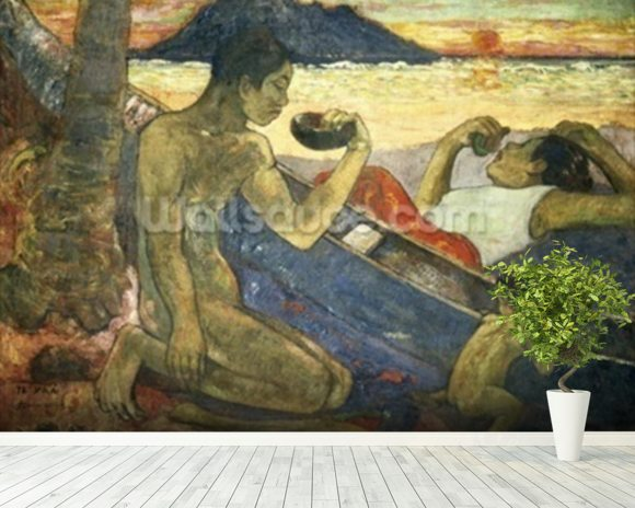 A Canoe (Tahitian Family), 1896 (oil on canvas) wallpaper mural room setting