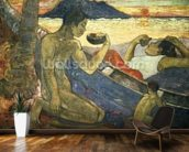 A Canoe (Tahitian Family), 1896 (oil on canvas) wallpaper mural kitchen preview