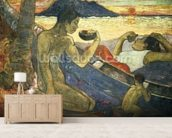 A Canoe (Tahitian Family), 1896 (oil on canvas) wallpaper mural living room preview
