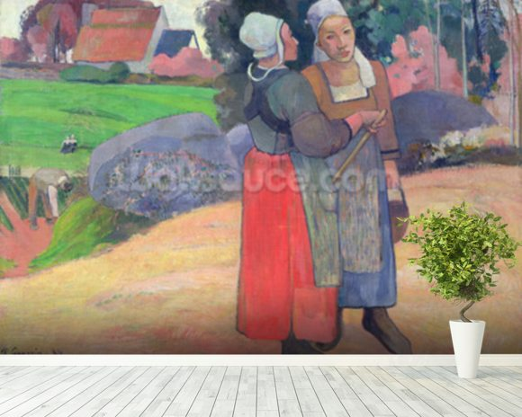 Breton Peasants, 1894 (oil on canvas) wallpaper mural room setting
