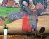Breton Peasants, 1894 (oil on canvas) wallpaper mural kitchen preview
